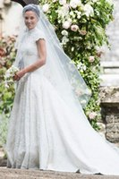 Wholesale Short Sleeved Lace Wedding Gown - pippa middleton wedding dresses 2017 high necked cap sleeved guipure lace ball gown wedding gown sweeping train