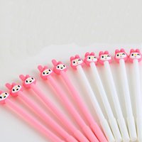 Wholesale Finance Cartoon - 20pcs Lot Cartoon Animal Pink Rabbit Shape Gel Pen Cute Pens for Writing Stationery Office Supplies School Kid Prize Party Pens Papelaria
