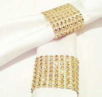 Wholesale Napkin Holders For Table Decoration - Wholesale- 20pcs 8 Rows Gold Plated Crystals Mesh Wrap Napkin Ring Serviette Buckle Holder For Wedding Party Table Decoration