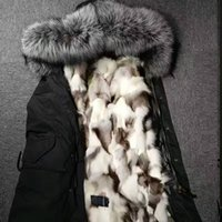 Wholesale Fox Canvas - Mr & mrs Italy Men's furs Long parkas hooded with Raccoon fur collar, silver Fox fur lining