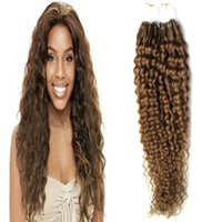 Kinky Curly micro ring hair extensions 100g # 8 Extensions de cheveux bouclés et marron beaded extensions de micro liens