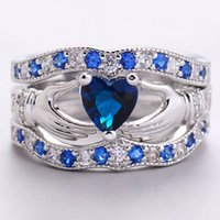 Claddagh Heart Sapphire Vintage 925 Sterling Silver Inlay AAA CZ Simulated Diamond Ring Seu Namorada Gift Wedding Ring For Women