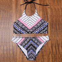 Wholesale Leopard Print Bikinis Two Piece - 2017 Geometric Print Vintage Bikini Set High Neck Padded Crop Bikini Top & Low Waist Bottoms Two Piece Beachwear Bathing Suit