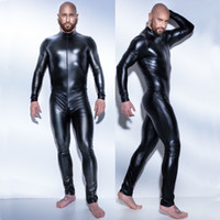 bodysuit brilhante preto venda por atacado-Homens de couro macacão de látex sexy 3XL catsuit Teddy bodysuit preto brilhante Lingerie Erótica Bodysuits Desgaste Do Corpo One Piece Gay