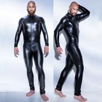 lenceria de mono de peluche negro al por mayor-traje de látex de cuero para hombre sexy catsuit 3XL Body de Teddy negro brillante Lencería Erótica Body Body Wear One Piece Gay