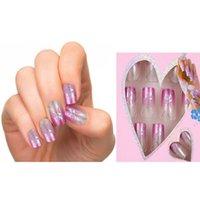 Wholesale Nail Glue For Free - Wholesale-24pcs Pre Design Fake Nails French False Nails Beautiful Nail Tips For Nail Art Fashion Fingernail Free Glue