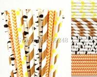 Wholesale Chevron Paper Yellow Straws - Wholesale-100pcs Drinking Party Paper Straws Mix,Brown Striped,Orange Chevron,Yellow Polka Dot,Black Birch,Woodland,Fall,Printed,in Bulk