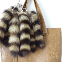 Wholesale Large Fox Tail - 1Pc New Women Fashion Lovely Cute Cool Facny Fox Fur Tail Tassel Bag Tag Charm Handbag Pendant Accessory Large Keychain H5