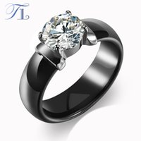 Wholesale TL New Arrival Ceramic Rings For Women Huge Zircon Cabochon Setting Black White Ceramic Wedding Rings Cute Simple Unique Design