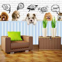 Wholesale Dog Beds Waterproof - custom 3d photo wallpaper mural bed room HD wallpaper cute pet dog 3d painting sofa TV background wall home decor murals