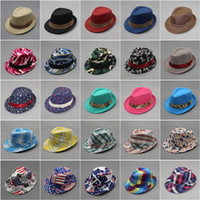 Wholesale Canvas Kids Fedora - Kids Fedora Hats Boys Formal Caps Girls Spring Vintage Canvas Visor Sun Hat 2017 Children Floral Printed Striped Plaid Cap Free DHL 65