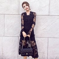 Wholesale Types Clothes Neck - 2017hot sale type new lace dress show thin skirt for spring and summer black lace sexy fashion dress skirt of new women's clothing elegant