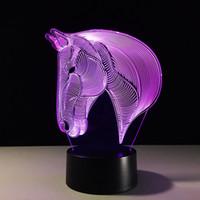 Wholesale Color Changing Table Lamps - Wholesale- 3D LED Horse Night Light Hologram Illusion Table Lamp Change Color USB Novelty Animal Luces Navidad LED Desk Bedside Lamps
