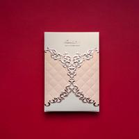 Wholesale elegant invitation paper - Wholesale- 50pcs Lot Wholesale Wedding Invitations Elegant Laser Cut Wedding Invitations Wedding Invitation Paper Card cw070
