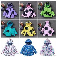 Wholesale Waterproof Overcoat - Kids Windbreaker Girl Smile Face Jackets Baby Windproof Hoodies Raincoat Waterproof Jackets Outerwear Mountaineering Coat Overcoat New H264