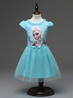 Wholesale Summer Toddler Tutu Dress - Girl Dress Summer Toddler Girls Clothes Lace Sequins Princess Anna Elsa Snow Queen Christmas Party Costume 3 4 5 6 7 years