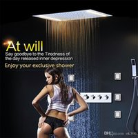 Wholesale Rainfall Showers - Newest Luxury Ceiling Mounted Shower Sets Thermostatic Mixer Bathroom Led Rainfall LED Shower Head 500*360mm Waterfall Rain Bubble Mist