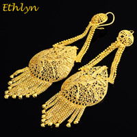 Venda quente Dubai Gold Color Plus Big Size Wedding Tassel Earring para Etíope / Arab / Inidan / Nigerian Women Party Jewelry E051