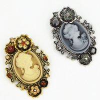 Wholesale Hijab China Brooch - Retro Style Women Cameo Gift Brooch For Hijab Wear Elegant Party Women Costume Broach Pins Vintage Cameo Brooches