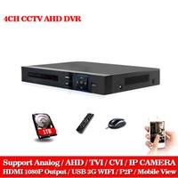 sistema de seguridad dvr 1 tb al por mayor-LLNIVISION AHD CCTV 4CH DVR HDMI 1080p Grabadora de Video Digital DVR para Sistema de Cámara CCTV de Seguridad con 1TB Disco Duro