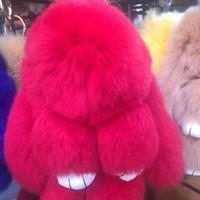 Wholesale Key Colours - Cute Bunny Keychains nine colours Women 14 cm Fluffy Pompom Fur Rabbit Keychain Llaveros Mujer Car Bag Pendant Ball Key Holder 77