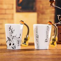 cadeaux de musique chine achat en gros de-Nouvelle guitare acoustique Music Bone China Mug 240 / 400ml en céramique tasse à café tasse à thé en porcelaine Zakka nouveauté pour cadeau café bureau