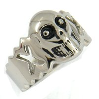 Wholesale Steel Cutting Band Saw - STAINLESS STEEL punk vintage mens or womens JEWELRY CUT OUT CROSS SKULL FACE SAW BLADED EDGE MEDALLION RING BIKER RING 02w90