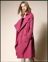 Wholesale Top Coat Double Breasted - Top Quality Women's Trench Coats Fashion Brand CLASSIC Lapel MIDDLE LONG TRENCH COAT DOUBLE BREASTED Winter Luxury Jacket Coat Outerwea