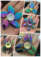 Rainbow Colorful Metal EDC Hand Spinner Fidget Toys Finger Fingertips Gyro Tri Triangle Spinners HandSpinner Spinning Top Retail Box JC282