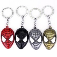 Wholesale Multi Keyring - 2017 new Super Hero Spider-man The Amazing Spiderman Keychain Metal Key Chain Keyring Key Rings Free Shipping