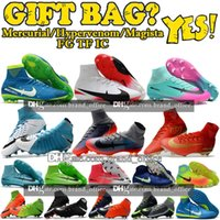 Wholesale Ankle Tie - Mens High Ankle Football Boots Mercurial Superfly CR7 V FG Soccer Shoes Neymar JR Phantom Kids TF IC Indoor Magista Obra II Soccer Cleats