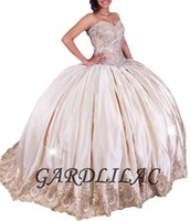 Wholesale Sweetheart Champagne Satin - New 2017 Ball Gown Quinceanera Dresses Sweetheart Champagne Satin with Gold Lace Appliques Sweet 16 Dress Ball Gown Beads Long Prom dress