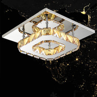 LED square meter - Modern LED Crystal Ceilling light Chandeliers W Contemporary LED Bulb Fixture Lighting Square Crystal Lamp for Hallway Corridor V