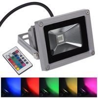 beste außenleuchten großhandel-Bestes LED Flutlicht buntes 10W RGB wasserdichtes Flutlicht-Landschaftslampen-Fernsteuerungs-LED Flutlicht im Freien 85-265V batteriebetrieben