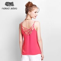 Vente en gros - Naked Zebra Summer Lady Camis col rond Hollowed-Out Solid couleur Sling Tops en mousseline Sexy Woman Bandage Retour Sling Tank