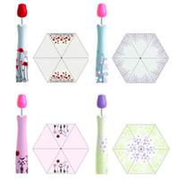 Wholesale Umbrellas Cute - 2017 New Novelty Design Rose Vase Umbrellas Personalized Clear Rain Umbrella Super Cute And Compact 3-Folding Manually Umbrella