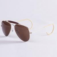 Wholesale Gift Box Sunglasses - 2017 Top Brand Classics Pilot Sunglasses Men Women Alloy Metal Frame Mouse Leg Crystal Green Glasses Lens 58mm gift Original case box