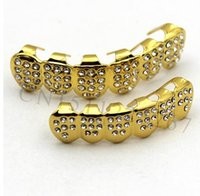 Wholesale Tooth Pendant Necklace - 2017 Gold Color ICED OUT CZ Teeth GRILLZ Top Bottom Tooth Caps Hip Hop Bling NEW with Free mode Simulated Diamonds