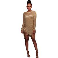 Wholesale Long Tunic Sequin Xl - Gold Metallic Knitt Shredded Sweater Dress Popular Stretch Sexy Lady Cut Out Metallic Sequins Dress Crochet Asymmetrical Beach Wear Tunic
