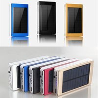 Wholesale solar charger batteries - 30000mah Solar Battery Chargers Portable Camping light Double USB Solar Energy Panel Power Bank with LED Light For Mobile Phone PAD Tablet