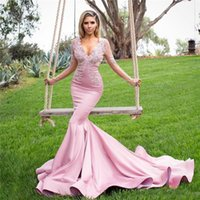Wholesale Yellow Glamorous Evening Dresses - Glamorous Mermaid Rose Pink Evening Dresses 2017 Sheer Long Sleeves Applique Lace And Satin Sweep Train Formal Prom Gowns