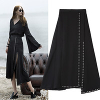Wholesale Long Black Skirts Small - 2017 spring new Europe and the big irregular deep slit small metal ring long skirt