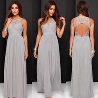 resmi uzun gelinlik elbiseleri toptan satış-Sıcak! 2017 Ülke Gri Gelinlik Modelleri Düğün için Uzun Şifon A-Line Backless Örgün Elbiseler Parti Dantel Mütevazı Hizmetçi Onur Elbise