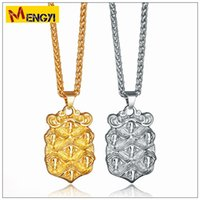 Wholesale Heart Shield - 2018 NEW Hip Hop Necklaces Reggae Skull Shield Shape Uzi Golden Pendant High Quality Necklace Gold Chain Popular Fashion Pendant Jewelry