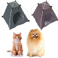 Wholesale House Dog Kennels - Pet Dog Tent Summer Dog Bed Kennel Removable Detachable Waterproof Oxford Cloth Stripe Outdoor Pet Supplies OOA2067