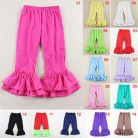 çocuklar renginde tozluklar toptan satış-14 Renkler Fırfır Pantolon bebek çocuk Tozluk ruffled pantolon kızlar katı ruffled pamuk tozluk yılbaşı pantolon kış kız 1-7 yıl