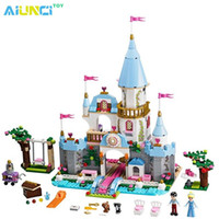Wholesale Castle Toy For Girls - Wholesale- AIUNCI Toys Cinderella Romantic Castle Building Block Princess Blocks Bricks Toys For Girls