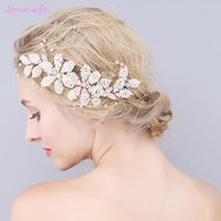 Wholesale Hairpiece Combs - beijia Beaded Pearls Hair Jewelry Gold Wedding Comb Hair Accessories Fashion Bridal Headpiece Women Hairpiece Handmade