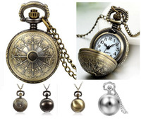 Wholesale Ladies Fob Watch Necklace - Fashion unisex mens women ladies ball FOB pocket watch Retro Antique necklace chain students quartz wholesale lady watches