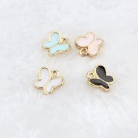 Wholesale gold butterfly necklaces - Free Shipping 10pcs lot Butterfly Charm Pendants 8*8mm Gold Tone Enamel Assorted Color For Bracelet Necklace DIY Jewelry Findings